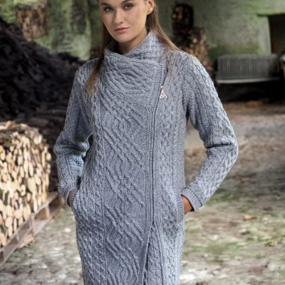 Ladies Aran Side Zip Coat Soft Grey