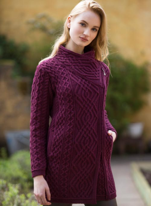 Ladies Aran Side Zip Coat Wine