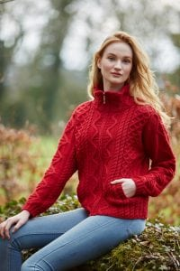 Ladies Aran Zip Jacket Cherry
