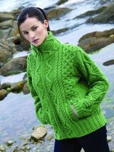 Ladies Aran Zip Jacket Green