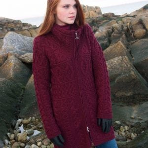 Long Length Aran Zip Cardigan Wine