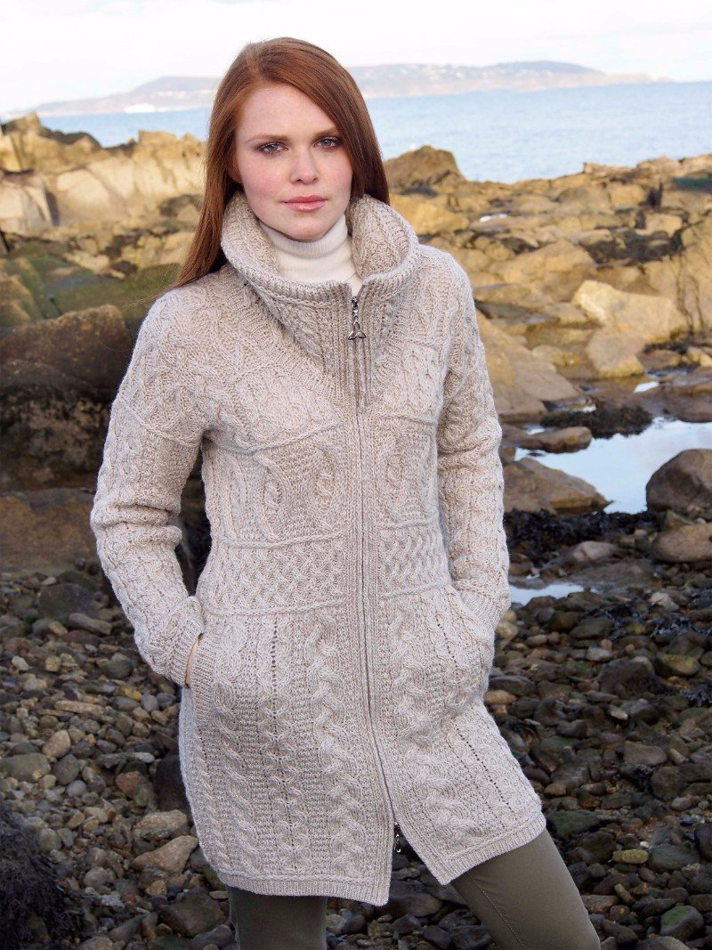 Long Length Aran Zip Cardigan Parsnip
