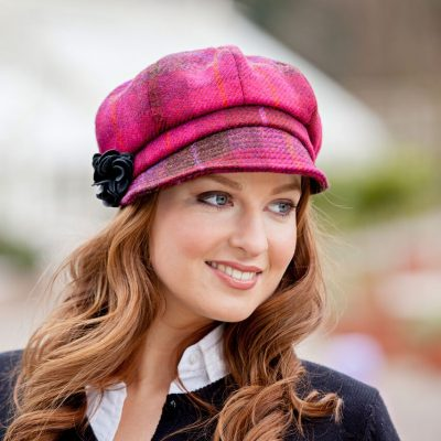 Pink & Red Tartan Newsboy Hat