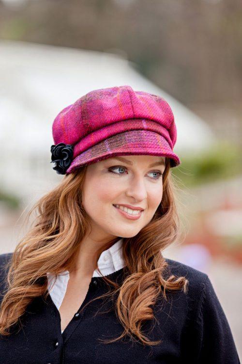 Pink & Red Tartan Newsboy Hat