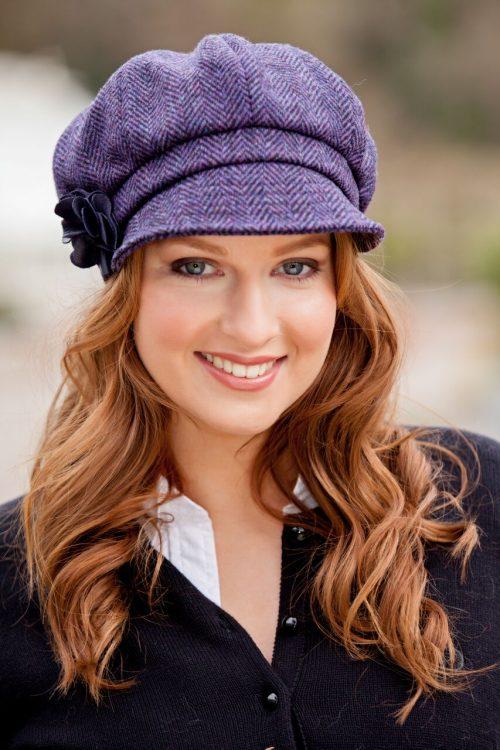 Purple Herringbone Newsboy Hat