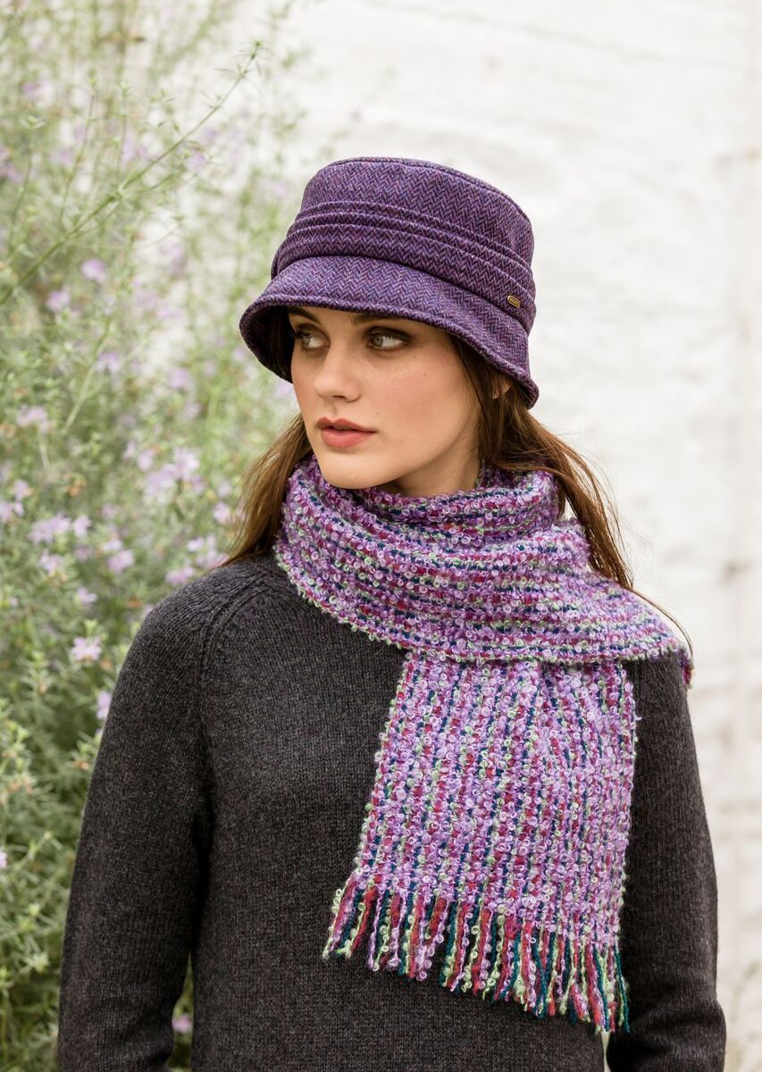 Purple & Red Mohair Mix Scarf