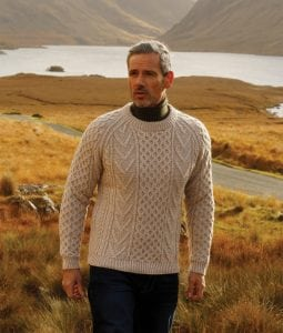 Handknitted Aran Sweater Honey Oat