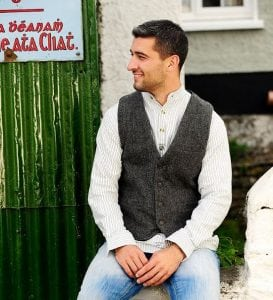 Irish Grey Herringbone Tweed Vest