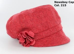 Scarlet Herrringbone Newsboy Cap