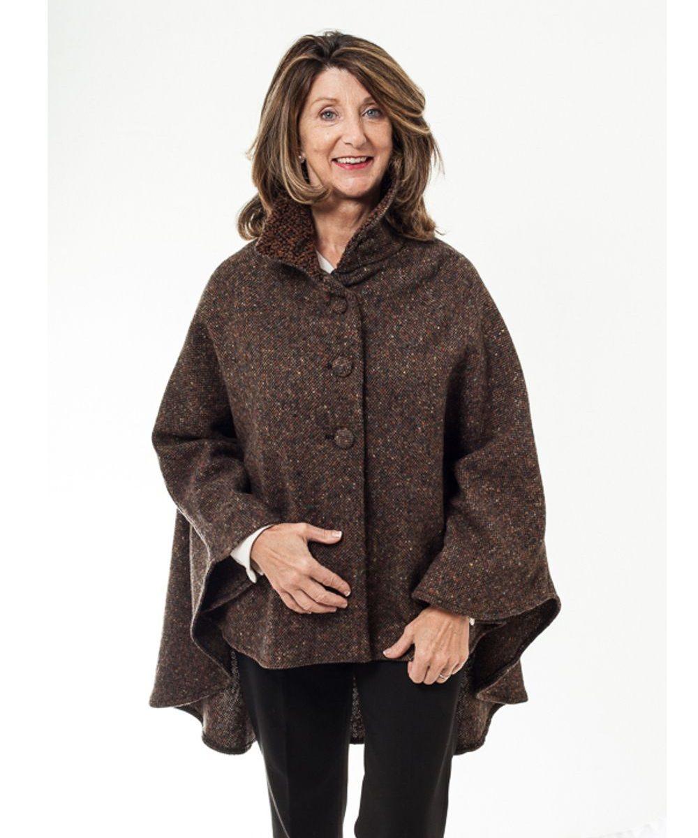 Cropped Tweed Wool Cape Brown Fleck