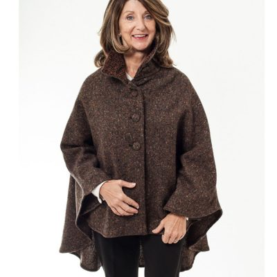 Cropped Tweed Wool Cape Brown Fleck