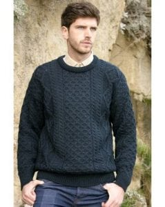 Irish Mens Aran Crew Neck Sweater Blackwatch