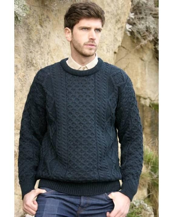 Mens Crew Neck Aran Sweater Molly Gallivans