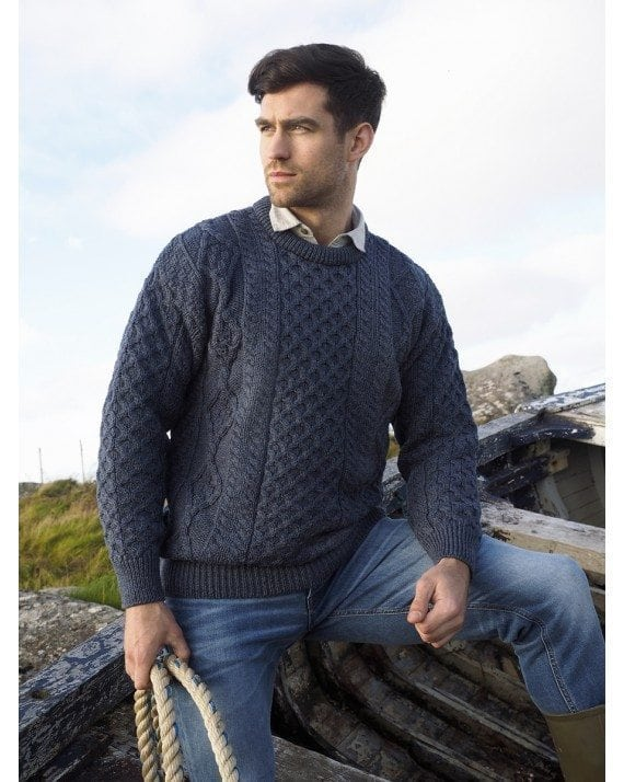 Irish Mens Aran Crew Neck Sweater Denim Blue