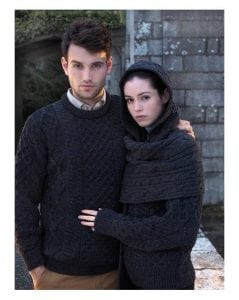 Irish Mens Aran Crew Neck Sweater Charcoal