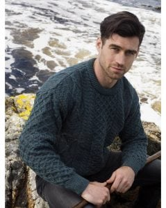 Irish Mens Aran Crew Neck Sweater Moss Green
