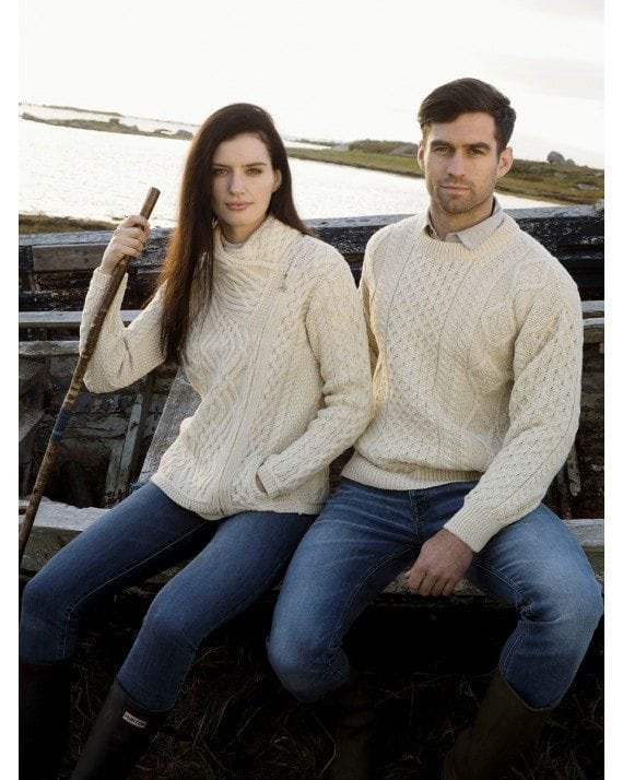Irish Mens Aran Crew Neck Sweater Natural