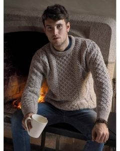 Irish Mens Aran Crew Neck Sweater Oatmeal