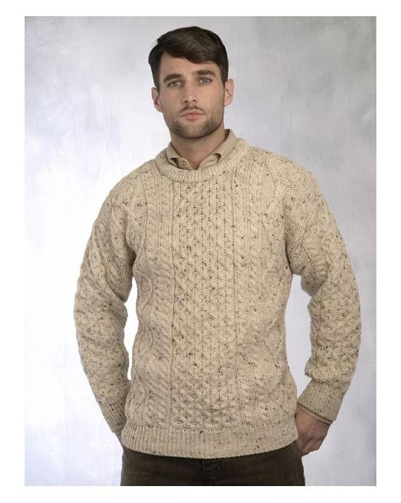 Irish Aran Crew Neck Sweater Natural Fleck