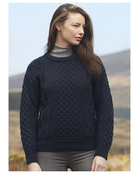 Ladies Crew Neck Aran Sweater Blackwatch