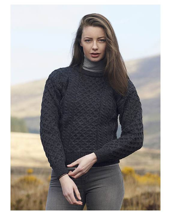 Ladies Crew Neck Aran Sweater Charcoal