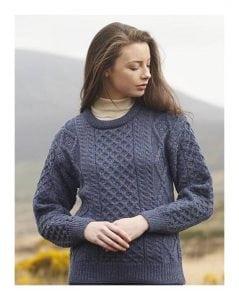 Ladies Crew Neck Aran Sweater Denim Blue