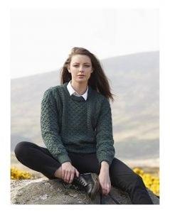 Ladies Crew Neck Aran Sweater Moss Green