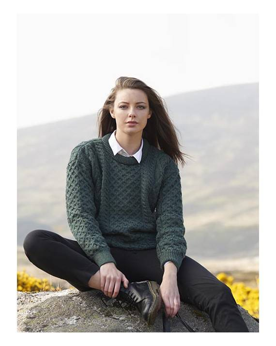 Ladies Crew Neck Aran Sweater Moss Green