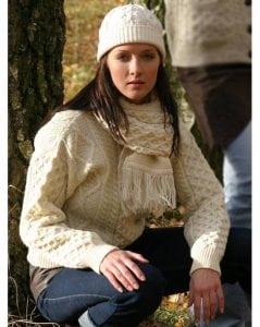 Ladies Crew Neck Aran Sweater Natural