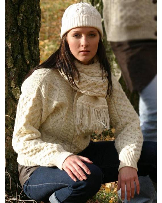 Ladies Crew Neck Aran Sweater Natural