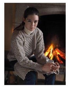 Ladies Crew Neck Aran Sweater Oatmeal