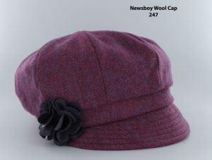 Deep Pink Herringbone Newsboy Cap