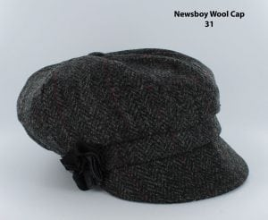 Charcoal Herringbone Newsboy Cap