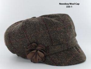 Chocolate Herringbone Newsboy Cap