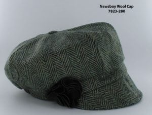 Dark Brown Herringbone Newsboy Cap