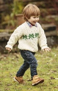 Handknit Kids Aran Shamrock Sweater (Not Available at Present)