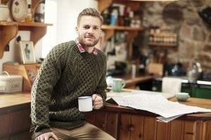 Handknitted Crew Neck Aran Sweater