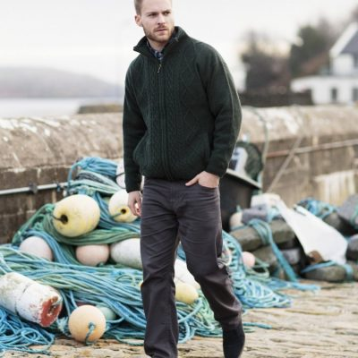Mens Lined Aran Full-zip Cardigan