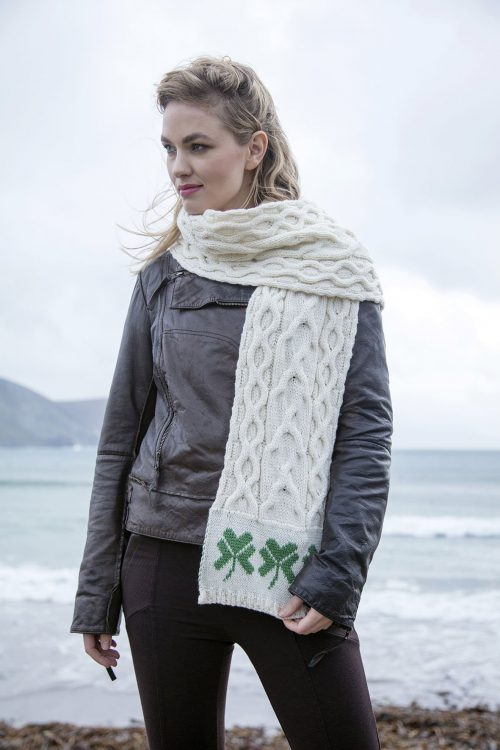 Traditional Shamrock Aran Scarf White