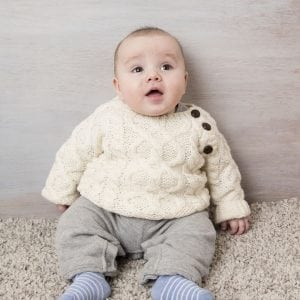 Hand-Knitted Baby Aran Sweater