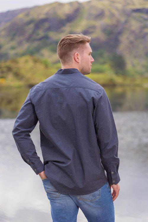 Cotton Irish Collarless Grandfather Shirt Black Pinstripe