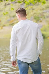 Cotton Irish Collarless Grandfather Shirt White