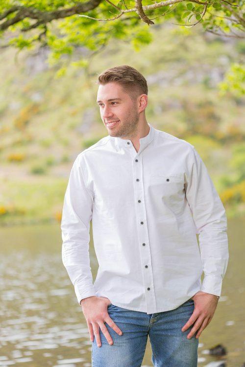 Cotton Irish Collarless Grandfather Shirt White