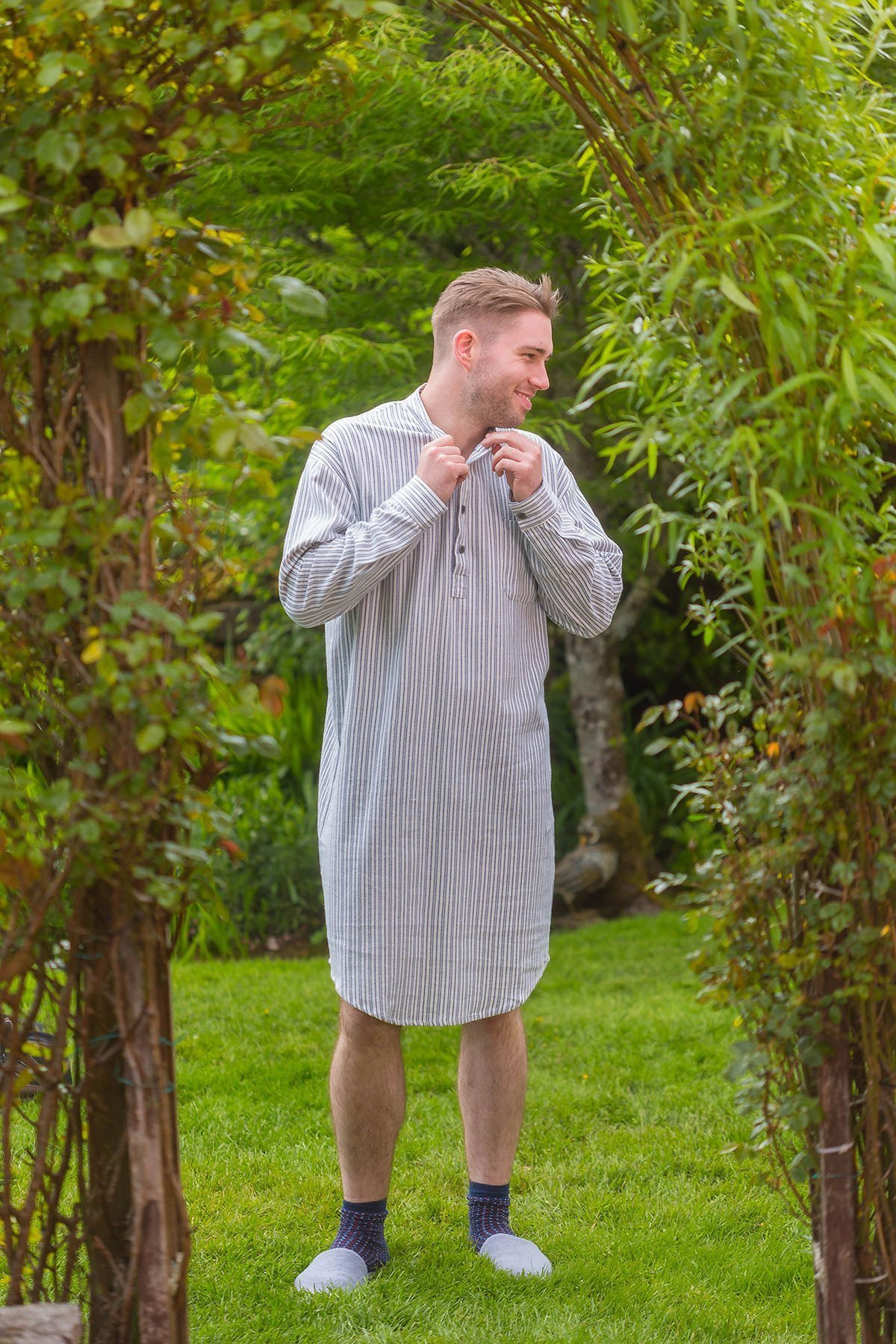 60a0771521 Flannel Night Shirt Blue   Ivory Striped