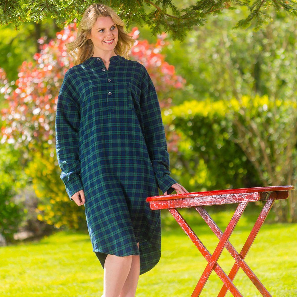 Flannel Nightshirt Green Tartan
