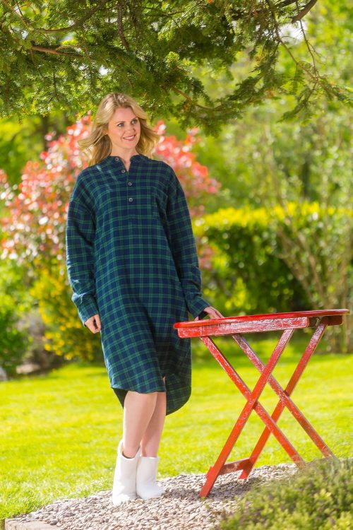 Flannel Nightshirt Green Tartan