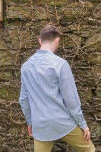 Irish Cotton Linen Grandfather Shirt Navy & White Striped
