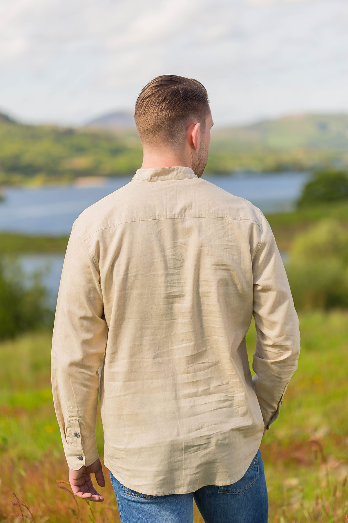 Irish Cotton Linen Grandfather Shirt Beige