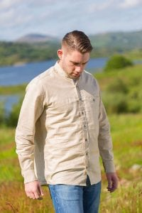 Irish Cotton Linen Grandfather Shirt Beige