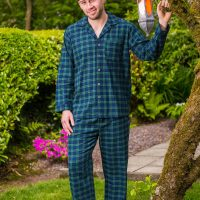 Mens Green Tartan Flannel Pajamas